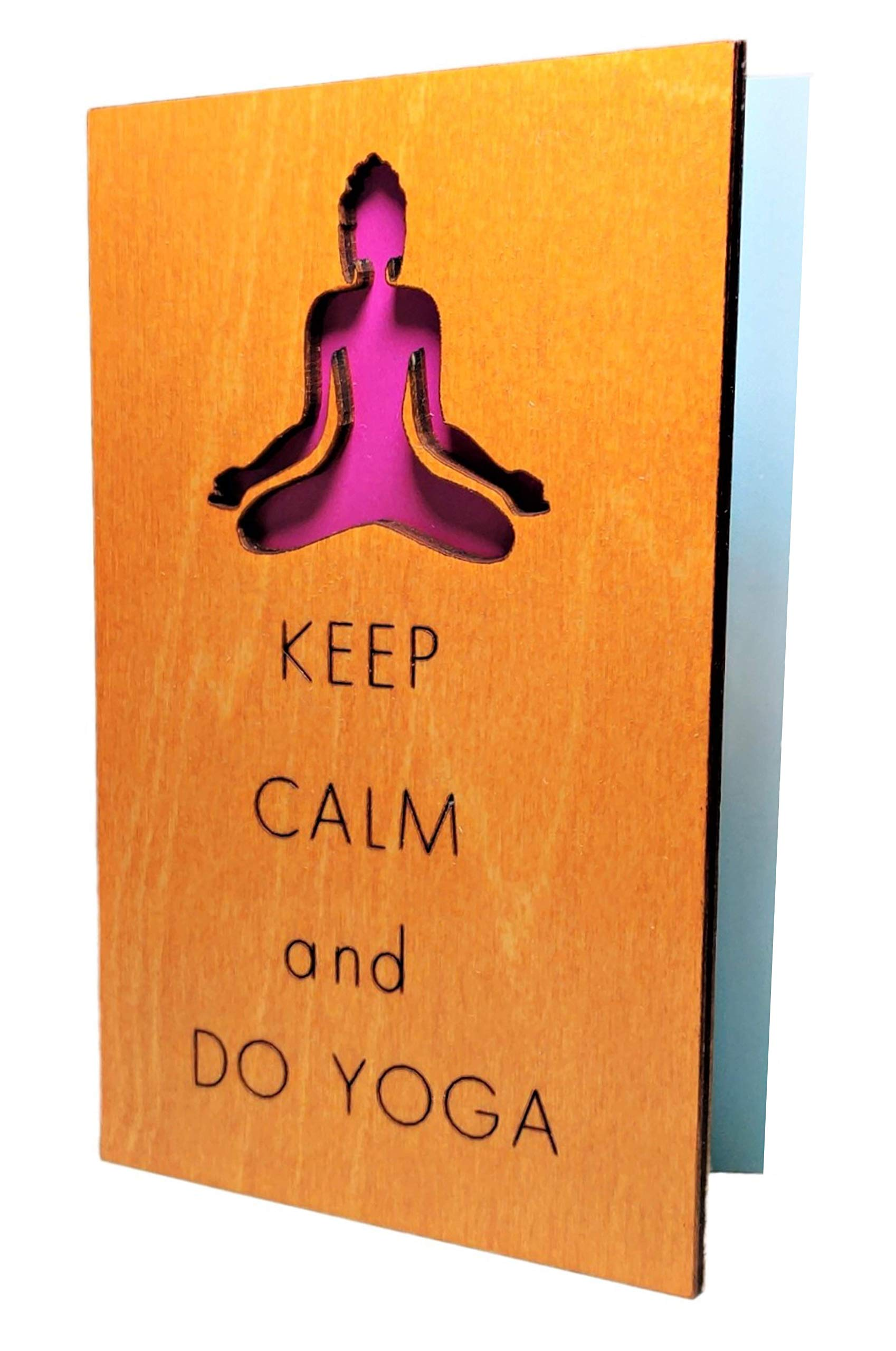 Real Wood Keep Calm and Do Yoga FunnyInspirationalMotivationalGreeting Card Best Cheer Up Happy Birthday Graduation Just Because Get Well Wooden Gift for Him Her Sister FriendAunt TeenCoworker