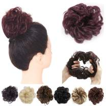 Red Scrunchies Bun Hair Piece Messy Hair Bun Synthetic Ponytail Extensions Curly Hairpiece for Women Wine 2PCS SARLA H2&118#