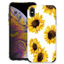CUSTYPE Case for iPhone X, iPhone Xs Case Floral for Girls & Women, Floral Series Flower Print Sunflower Pattern Design PC Leather with TPU Bumper Slim Protective Cover for iPhone Xs/X 5.8''