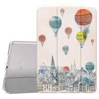 Dadanism Slim Case for New iPad 10.2 2019 (7th Generation), [Flexible TPU Translucent Frosted Back] Smart Stand Protective Cover with Auto Sleep/Wake Fit iPad 10.2 inch 2019 Tablet, City Balloon