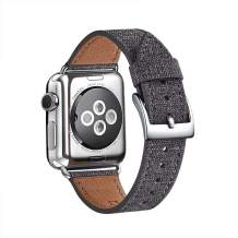 WFEAGL Compatible iWatch Band, Top Grain Leather Band Replacement Strap with Stainless Steel Clasp for iWatch Serie 5/4/3/2/1,Sport, Edition (Denim Gray Band+Silver Connector, 42mm 44mm)