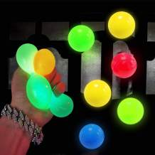6 Pack Luminescent Stress Relief Toy Fluorescence Sticky Ball - Squishy Glow Stress Sticky Balls, Non-Toxic for Kids and Adults, Tear-Resistant, Fun Toy for ADHD, OCD, Anxiety