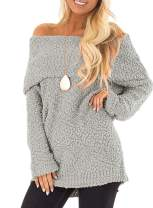 Aleumdr Women Off The Shoulder Long Sleeve Comfy Warm Pullover Sweater Tops