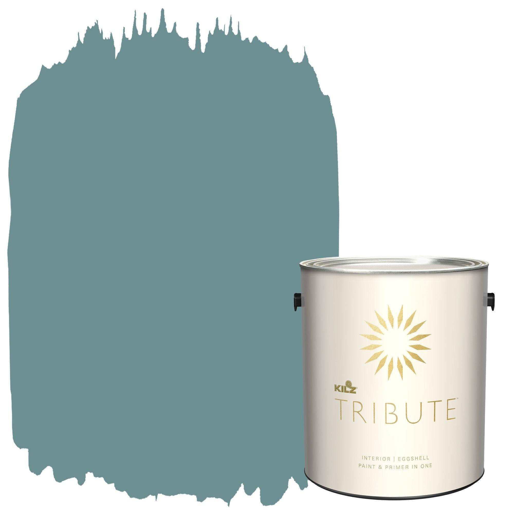 KILZ TRIBUTE Interior Eggshell Paint and Primer in One, 1 Gallon, Pale Emerald (TB-57)