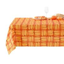 Deconovo Cloth Rectangle Waterproof Oxford Pumpkin Printed Stain Wrinkle Resistant Tablecloth for Dining Tables, 54 x 72 Inch
