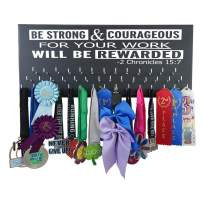 """Running On The Wall-Gifts for Runners-Marathon Medal Display-Medal Rack for Running- Awards Hanger - Wall Mounted Holder-BE Strong and Courageous…-2 Chronicles 15:7"""""""
