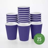 Insulated Paper Coffee Cups - Ripple Wall - Royal Purple - 12 oz - 25ct Box - MATCHING LIDS SOLD SEPARATELY: RWA0360B, RWA0360W, RWA0328LG, RWA0328GR, RWA0328HP, RWA0283W, RWA0283B