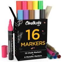 Liquid Chalk Markers & Metallic Colors by Chalkola - Pack of 16 Chalk Pens - For Chalkboard, Blackboards, Window, Glass, Bistro | 6mm Reversible Bullet & Chisel Tip Erasable Ink