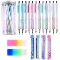 Mechanical Pencil Set Assorted 12 Pieces Mechanical Pencils, 4 Tubes of Pencil Lead 0.9 mm Refills, 2 Pieces Erasers with Clear Plastic Bottle (Set 1)