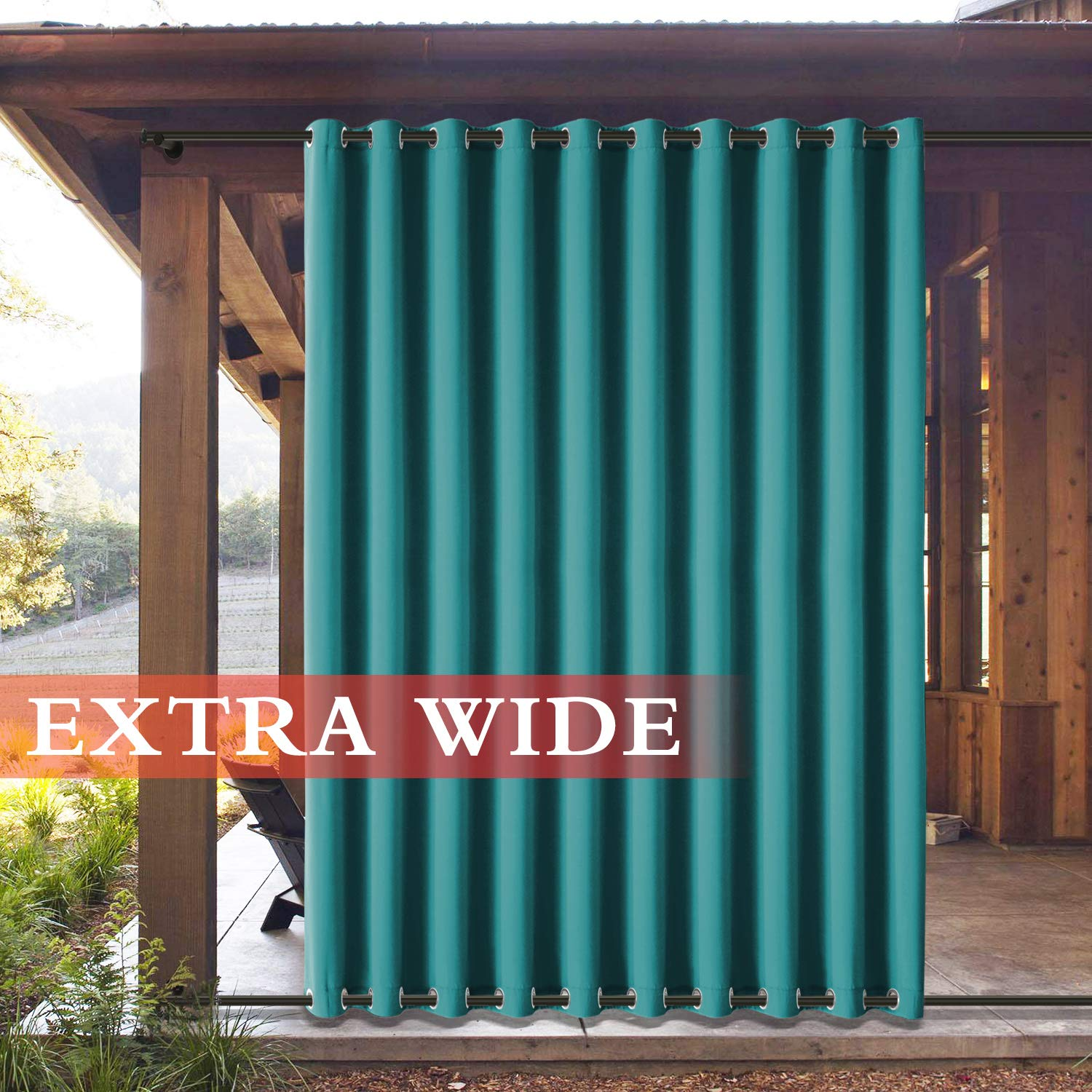 Frelement Outside Drapes Panels for Patio Cabana Indoor/Outdoor Decoration Water Repellent Heat Insulated Outdoor Curtains Rustproof Grommet Top and Bottom, Turquoise 100W x 102L (1 Panel)