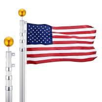 CO-Z 16 Feet Aluminum Telescoping Flag Poles with 3-Feet-by-5-Feet American Flag, Golden Ball Finial, PVC Sleeve and Hooks & Screws