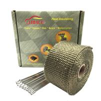 LEDAUT Heat Shield Insulation with Ties for Pipe 16' Roll Titanium Motorcycle Exhaust Tape Thermal Protection