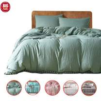 DuShow Green Duvet Cover King Washed Cotton Solid Comforter Cover Set with Zipper Closure Ball Fringe