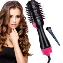 Hot Air Brush Hair Dryer Brush, Electric One-Step Hair Dryer & Volumizer 3-in-1 Negative Ion Salon Hair Straightener Hair Curler Hair Styler Brush, Reduce Frizz and Static for All Hair Types (Pink)