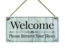 """Meijiafei Welcome Please Remove Your Shoes- Shoes Off Sign - No Shoes Sign - Remove Shoes Sign - Please Remove Your Shoes Sign 5"""" x 10"""""""