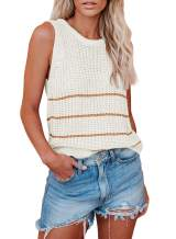 Happy Sailed Womens Summer Loose Cami Tops Crochet Crew Neck Knit Tank Striped Sleeveless Shirt Sweater Vest S-XXL