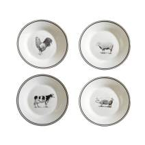 American Atelier Farm Animals 4 Piece Salad Plate Set, 8x8, White