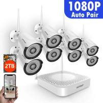 [2TB Hard Drive Pre-Install] 1080P Security Camera System Wireless,SAFEVANT 8 Channel Home NVR Systems 8pcs 1.3MP Indoor Outdoor Cameras with Night Vision Motion Detection