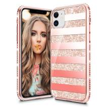 VEGO Compatible for iPhone 11 Case Glitter Bling Diamond Rhinestone Sparkly Bumper Girly Fashion Shiny Cute Protective Fancy Case for Women Girls 6.1 inch (Stripe Rosegold)