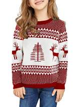 Geckatte Girls Ugly Christmas Sweaters Knitted Long Sleeve Crewneck Cute Xmas Pullover Tops