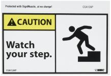 """NMC CGA12AP OSHA Sign, Legend """"CAUTION - Watch your step."""" with Graphic, 5"""" Length x 3"""" Height, Pressure Sensitive Vinyl, Yellow/Black on White (Pack of 5)"""