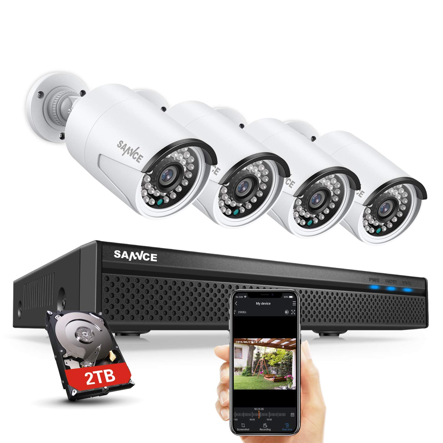 SANNCE 8CH 5MP PoE Home Security Camera System, 4pcs Wired 5MP Outdoor PoE Cameras, 5MP 8-Channel NVR Security System with 2TB HDD for 24/7 Recording, Smart Playback, Instant Email Alert with Images