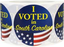 I Voted in South Carolina Stickers for Election Day 2.5 Inch Round Circle Dots 500 Total Adhesive Stickers