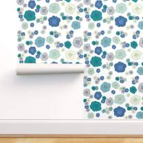 Spoonflower Pre-Pasted Removable Wallpaper, Blue Roses Floral Baby Rose Pattern Girl Flowers Print, Water-Activated Wallpaper, 24in x 36in Roll