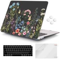 iCasso MacBook Air 13 inch Case 2019 2018 Release A1932 with Touch ID Retina Display, Plastic Hard Shell Case and Keyboard Cover Only Compatible Newest MacBook Air 13'' - Black Weeds