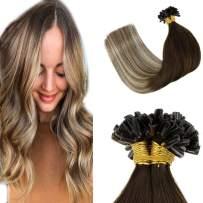 "LaaVoo U Tip Hair Extensions Straight Nail Human Hair Extensions Darker Brown to Light Brown with Medium Blonde U Tip Hair for Thin Girls 50g/50strands 22"""
