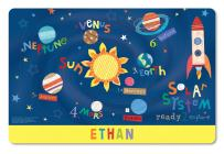 Kids Placemat Personalized with Child's Name, Custom Dining Placemat, Unique Gift for Boys and Girls, Outer Space Table Mat