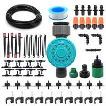 DricRoda Automatic Drip Irrigation Kits, DIY Micro Auto Watering System with Digital Water Timer, 1/4Inches Blank Distribution Tubing Hose, Dripper Set for Garden, Greenhouse, Patio, Lawn (50ft)