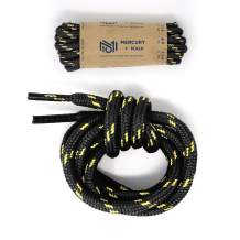 Honey Badger Work Boot Laces Heavy Duty W/Kevlar - USA Made Round Shoelaces for Boots - Black Nat