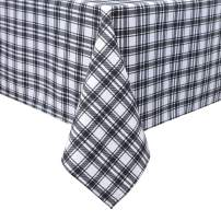 PANOVOUS Holiday Tablecloths Rectangle Buffalo Check Plaid Rectangle Tablecloth for Family Dinners or Gatherings, Indoor or Outdoor Parties, Everyday Use 54 x 72 Inch White and Black TableCloths