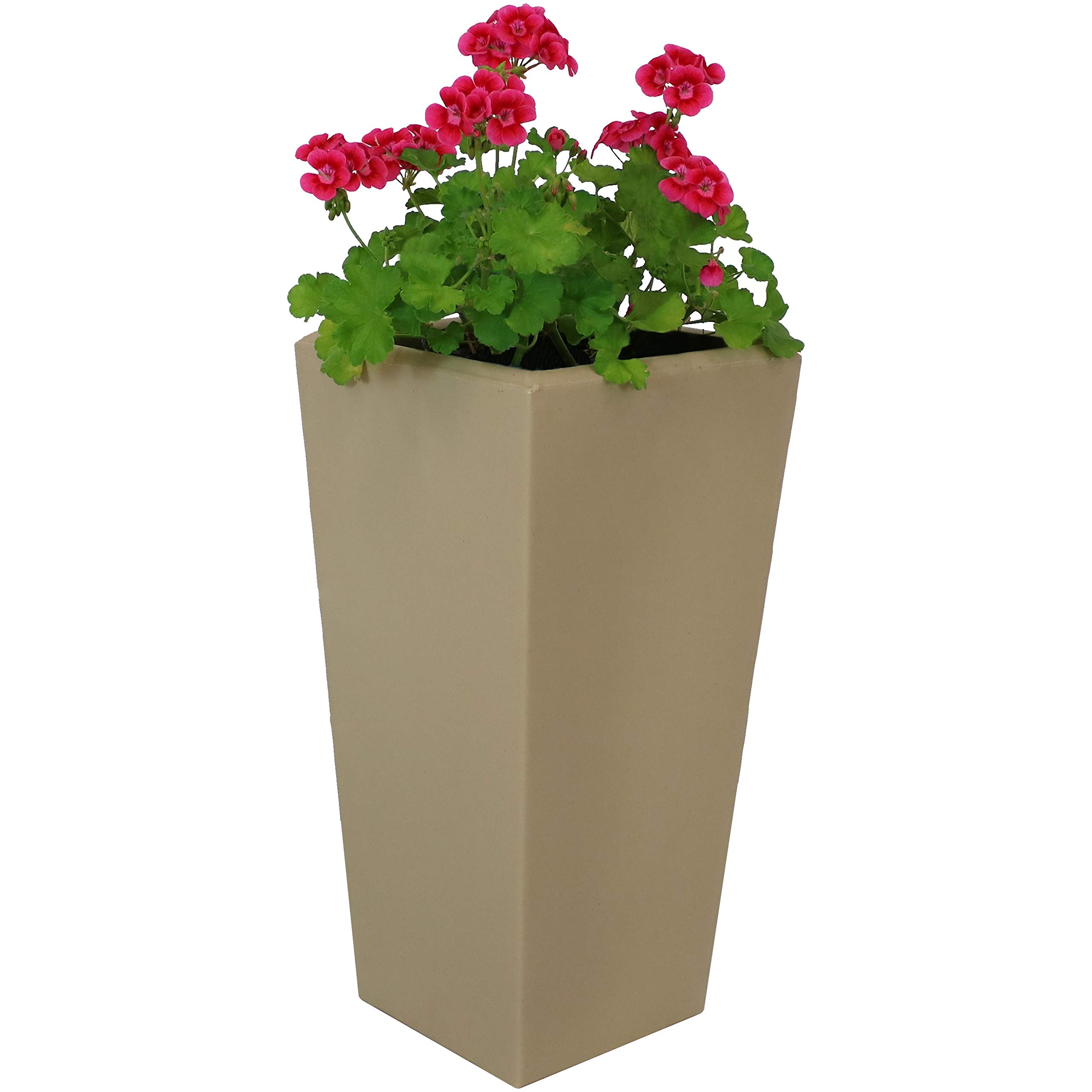 Sunnydaze Meghan Outdoor/Indoor Planter Pot, Heavy-Duty Double-Walled Polyresin with UV-Resistant Desert Finish, Single, 11-Inch
