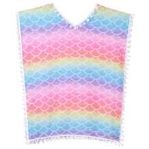 Qancy Girls Cover Up Rainbow Unicorn Swimsuit Coverups Beach Pompom Tassel Dress