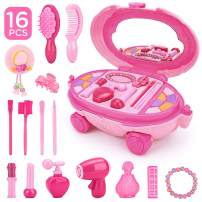 KKONES Pretend Makeup for Girls - 16 Piece Play Makeup Set- Exquisite Cosmetic case with Colorful LED and Music - Realistic Toys Makeup Set for Girls Party Game Birthday Best Gift