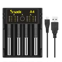 Intelligent Charger, Snado Universal Smart Charger for Rechargeable Batteries Ni-MH Ni-Cd AA AAA C Li-ion LiFePO4 IMR 18650 26650 14500 16340 18500 10440 18350 17670 RCR123a (4 Slots)