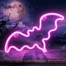 Neon Pink Bat Signs, LED Neon Signs for Wall Decor, Led Safety Art Wall Decoration Lights Neon Lights Night Table Lamp with Battery Powered/USB for Kids Gift, Home, Wedding, Baby Room