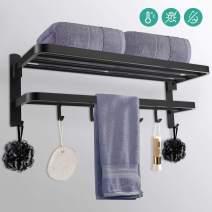 Towel Rack Bar Holder for Bathroom,Wall-Mounted with Foldable Shelf Kitchen Dual Bath Hooks,Single Shower Rail Rod 24 Inch,High-End SUS304 Stainless Steel,Lavatory,Hotels,Door,Modern Matte Black