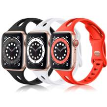(3 Pack) Vcegari Sport Bands Compatible with Apple Watch 40mm 38mm Women, Soft Thin Silicone Strap for iWatch SE & iWatch Series 6 5 4 3 2 1, Black/White/Red