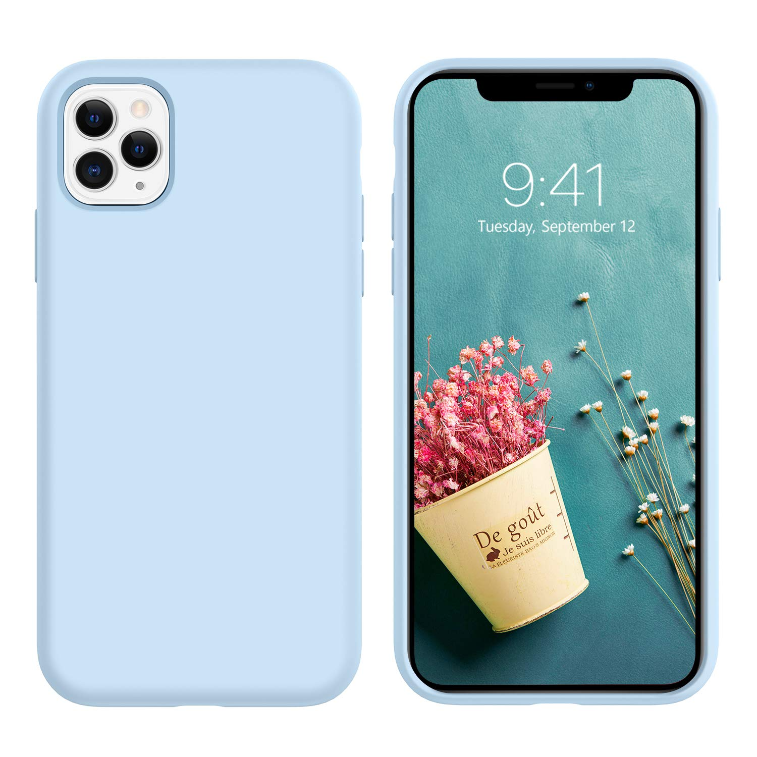 GaoBao iPhone 11 Pro Max Case, Anti-Slip Liquid Silicone Rubber with Soft Microfiber Cushion Shockproof Drop Full Body Protective Phone Cases Cover for iPhone 11 Pro Max 6.5 inch (2019), Light Blue