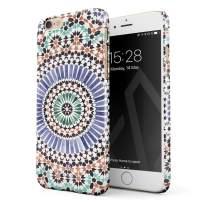 BURGA Phone Case Compatible with iPhone 6 Plus / 6s Plus - Pastel Illusion Moroccan Marrakesh Tile Pattern Colorful Mosaic Cute Case for Women Thin Design Durable Hard Plastic Protective Case