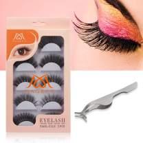 MAGEFY 5 Pairs Fake Eyelashes Reusable 3D Handmade False Eyelashes Set for Natural Look with False Lashes Applicator-5 Styles