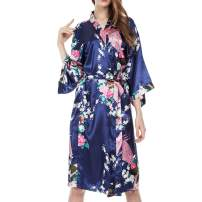 MISSFASHION Women's Lounge wear Satin Kimono Robe Peacock Pajamas for Women