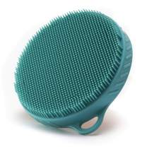Body Brush for Wet or Dry Brushing - Soft Silicone Shower Brush Body Wash Bath Exfoliating Skin Massage Scrubber, Dry Skin Brushing Palm-sized Loofah, Fit for Sensitive and All Kinds of Skin (Green)