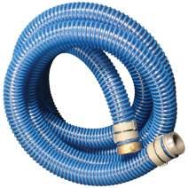 "Apache 98106501 PVC Suction Aluminum Short Shank Hose, 40 psi, 2"" Inside Diameter, Blue"