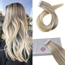 """Moresoo 22"""" Skin Weft Remy Tape in Hair Extensions Dip Dye Extensions Color #18 Fading to #22 and #60 Blonde Tape in Extensions Human Hair 20PC/50G"""