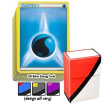 100 Basic Water Energy Pokemon Cards with A Totem World Deck Box - Blue Type - Set Varies from XY to Sun and Moon Series