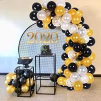 Balloon Garland Kit 114 pcs Balloons Arch Kit for Wedding Birthday Party Baby Shower Decorations, Black+Gold Balloon Garland